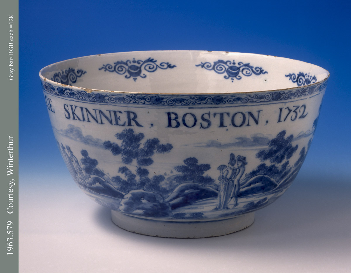 1963.0579 Bowl, Punch Bowl, 'George Skinner, Boston, 1732'