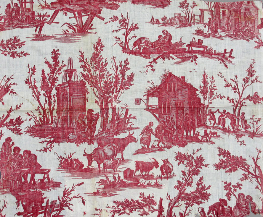 T31 textile, printed design repeat red