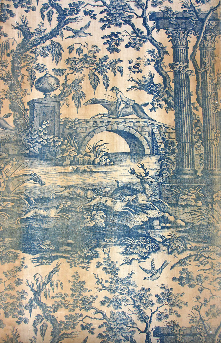 T2138 textile, printed design repeat blue