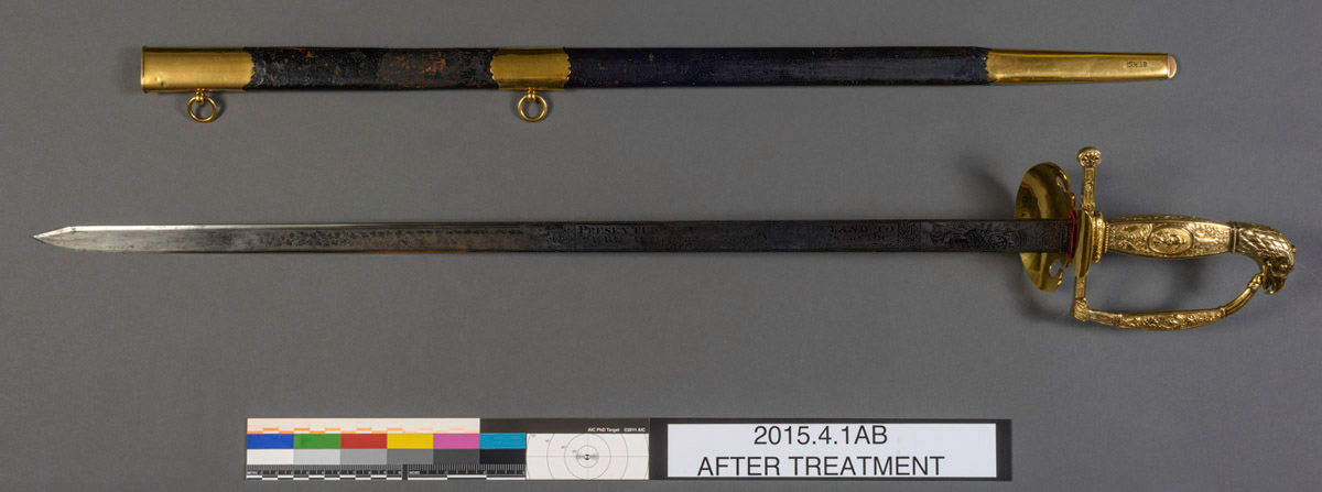 2015.0004.001 A Sword, B Scabbard,  view 1, after conservation treatment