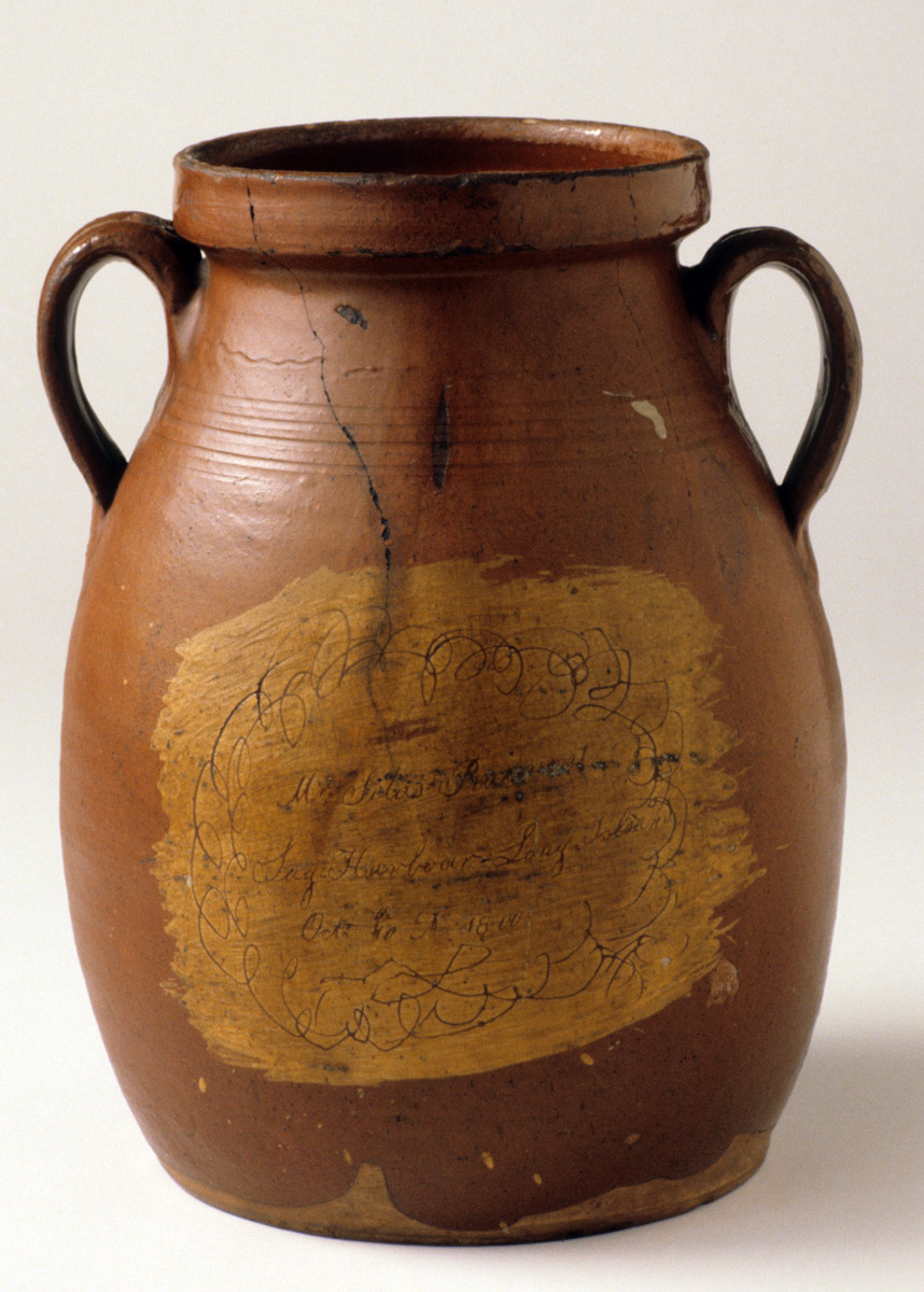1952.0054 Sag Harbor sgraffito slipware jar