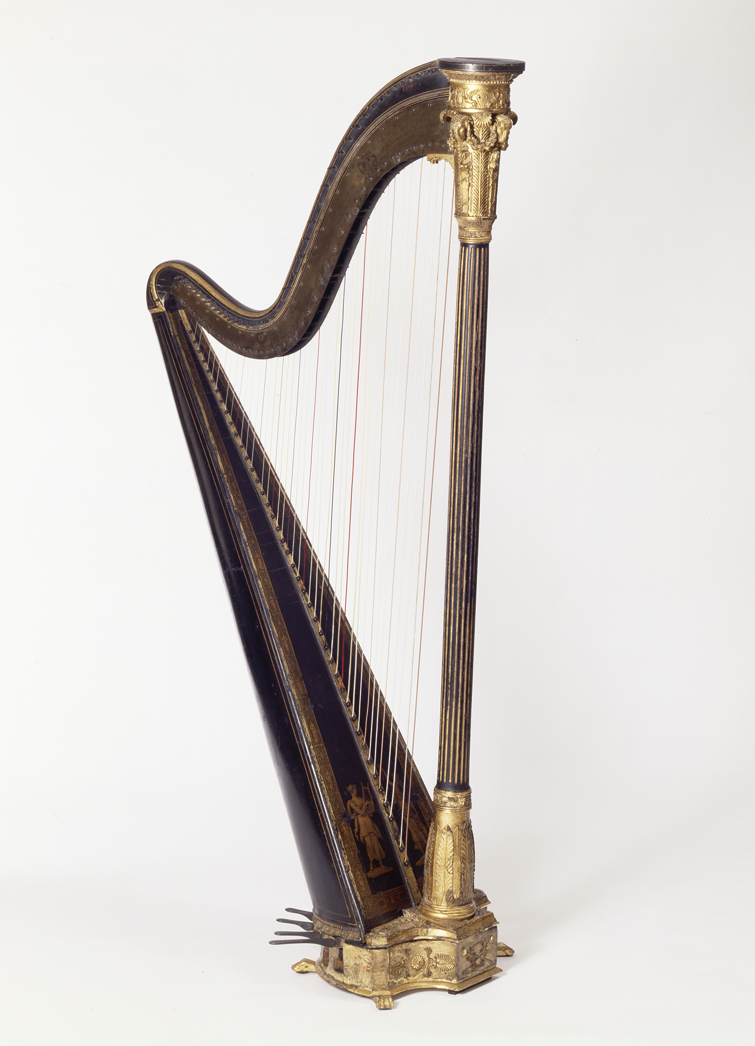 1957.0748 Harp, view 1,  post conservation treatment