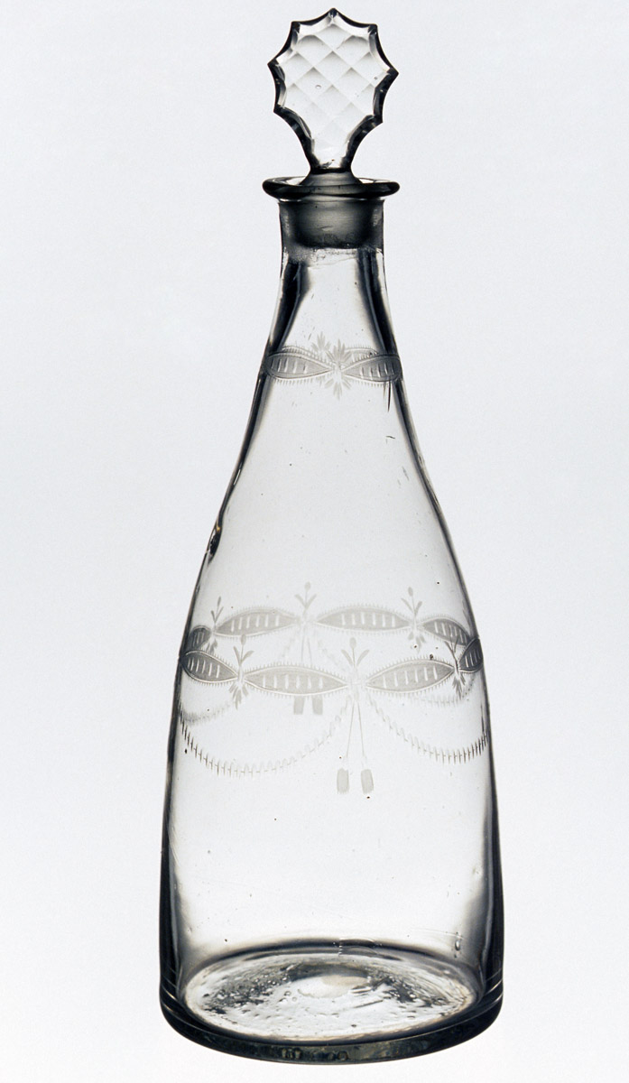 1957.0018.034 A, B Colorless glass decanter