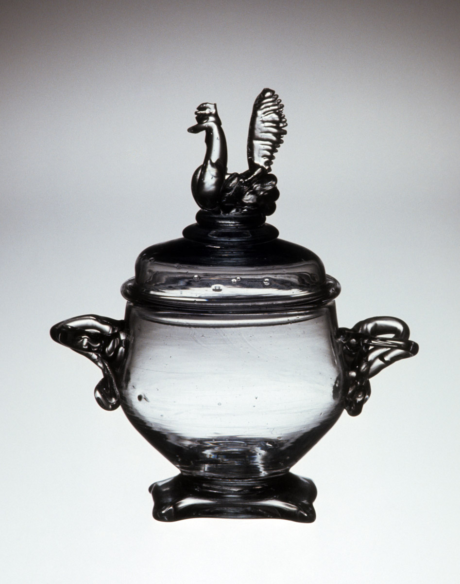 1959.3028 A, B Glass sugar bowl and cover